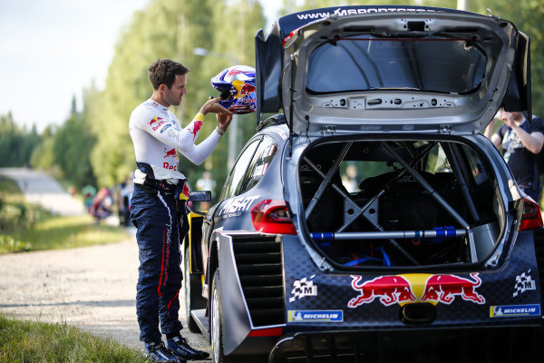 A quiet moment for Sebastien Ogier during Rally Finland