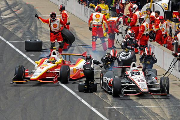 26 May, 2013, Indianapolis, Indiana, USA Teammates Will Power (#12) and Helio Castroneves (#3) make their final pit stops. ©2013, F. Peirce Williams LAT Photo USA