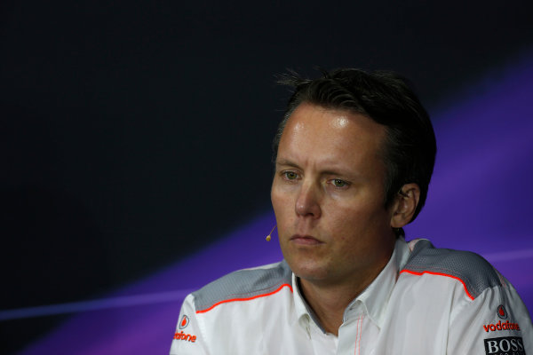 Nurburgring, Germany 5th July 2013 Sam Michael, Sporting Director, McLaren, in the Friday Press Conference World Copyright: Charles Coates/  ref: Digital Image _N7T9095