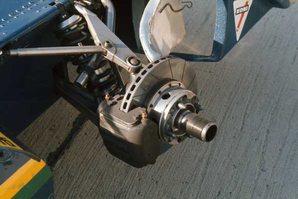 1973 United States Grand Prix.  Watkins Glen, New York, USA. 5-7th October 1973.  Surtees TS14A front suspension and brake detail.  Ref: 73USA01. World copyright: LAT Photographic