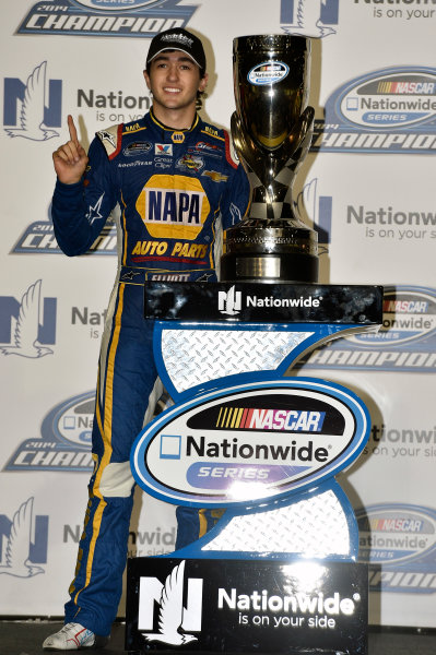 14-15 November, 2014, Homestead, Florida USA Chase Elliott celebrates his Championship ? 2014, Nigel Kinrade LAT Photo USA