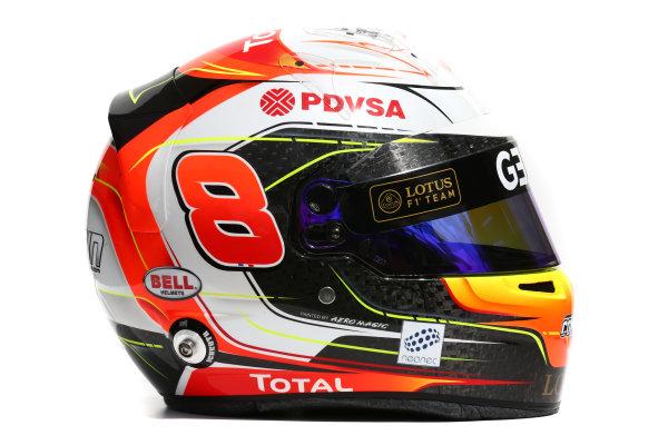 Albert Park, Melbourne, Australia. Helmet of Romain Grosjean, Lotus F1.  Thursday 12 March 2015. World Copyright: LAT Photographic. ref: Digital Image 2015_Helmet_031
