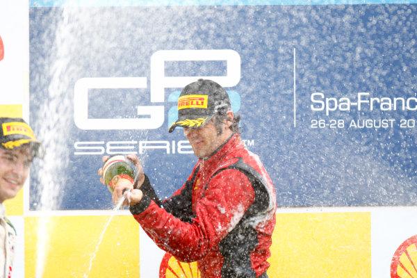 Spa - Francorchamps, Spa, Belgium. 28th August. Sunday Race. Luca Filippi (ITA, Scuderia Coloni) celebrates his victory on the podium. Photo: Glenn Dunbar/GP2 Media Service. Ref: _G7C7810 jpg