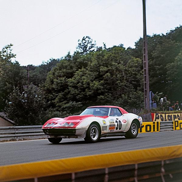 """Le Mans, France. 9-10 June 1973 Henri Greder/""""Marie-Claude Beaumont"""" (Chevrolet Corvette), 12th position, action. World Copyright: LAT PhotographicRef: 73MFLM"""