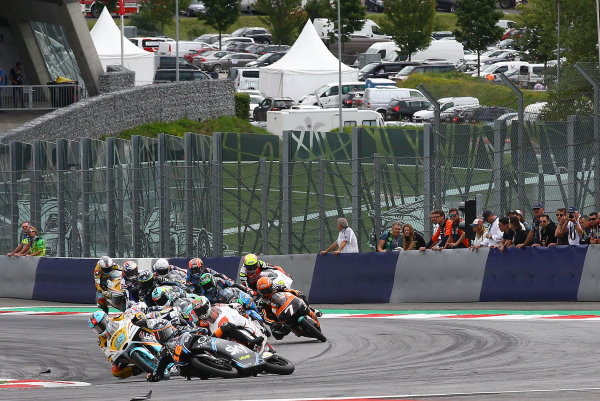 2017 Moto3 Championship - Round 11 Spielberg, Austria Sunday 13 August 2017 Crash, Andrea Migno, Sky Racing Team VR46 World Copyright: Gold and Goose / LAT Images ref: Digital Image 687208