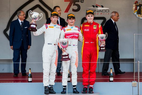 2017 FIA Formula 2 Round 3. Monte Carlo, Monaco. Saturday 27 May 2017. Johnny Cecotto Jr. (VEN, Rapax), Nyck De Vries (NED, Rapax) and Gustav Malja (SWE, Racing Engineering) on the podium. Photo: Zak Mauger/FIA Formula 2. ref: Digital Image _56I7711