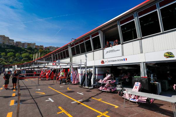 Monte Carlo, Monaco. Wednesday 24 May 2017. Force India pits. World Copyright: Sam Bloxham/LAT Images ref: Digital Image _J6I9701