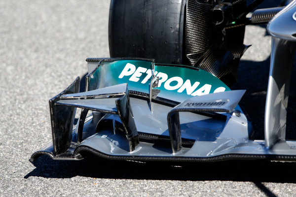 Circuito de Jerez, Jerez de la Frontera, Spain, 4th February 2013 The front wing detail on the Mercedes W04. World Copyright: Alastair Staley/LAT Photographic ref: _R6T7456