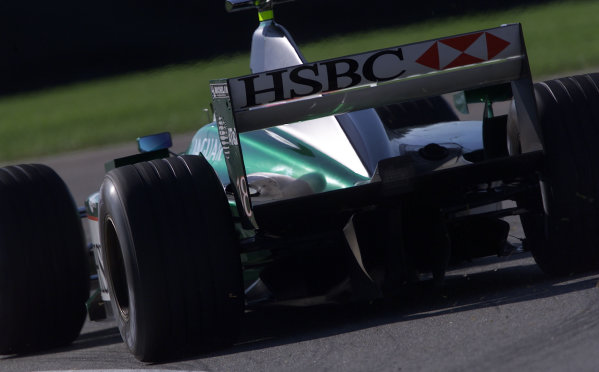 2001 American Grand Prix - QualifyingIndianapolis, United States. 29th September 2001.Jaguar R2, rear action.World Copyright: Steve Etherington/LAT Photographicref: 18mb Digital Image