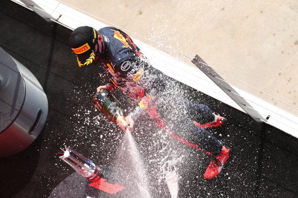 Max Verstappen, Red Bull Racing, celebrates on the podium
