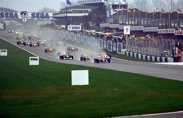 Alain Prost, Williams FW15C Renault, leads Damon Hill, Williams FW15C Renault, Karl Wendlinger, Sauber C12, and Ayrton Senna, McLaren MP4-8 Ford, at the start.
