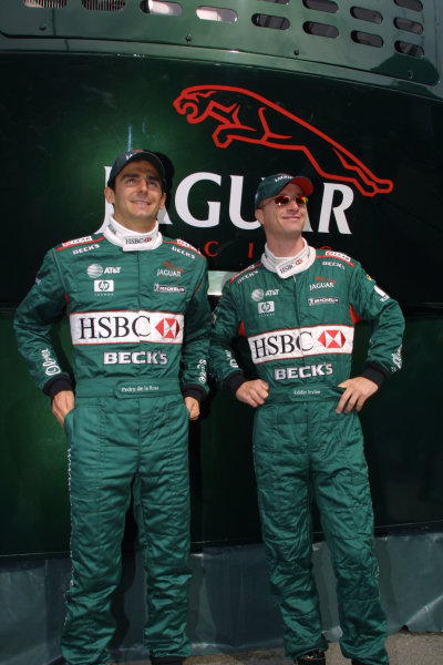 2001 Spanish Grand PrixCatalunya, Barcelona, Spain. 27-29 April 2001.New Jaguar team mates Eddie Irvine and Pedro de la Rosa.World Copyright - LAT Photographicref: 8 9 MB Digital File
