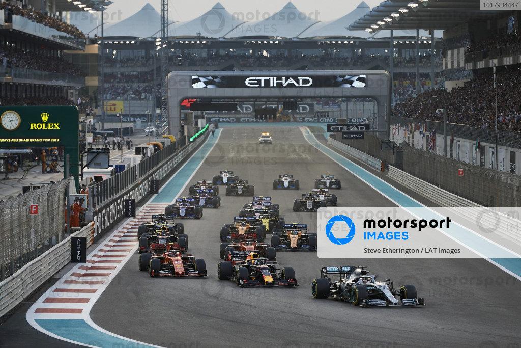 Lewis Hamilton, Mercedes AMG F1 W10, leads Max Verstappen, Red Bull Racing RB15, Charles Leclerc, Ferrari SF90, Sebastian Vettel, Ferrari SF90, Alexander Albon, Red Bull RB15, Lando Norris, McLaren MCL34, and the rest of the field at the start