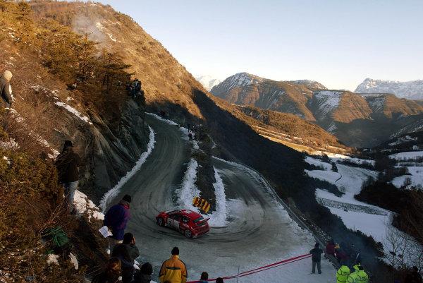 2003 FIA World Rally Championship. Monte Carlo, Monaco. Rd1.23-26 January 2003.Richard Burns/Robert Reid (Peugeot 206 WRC) 5th position.World Copyright: McKlein/LAT Photographic