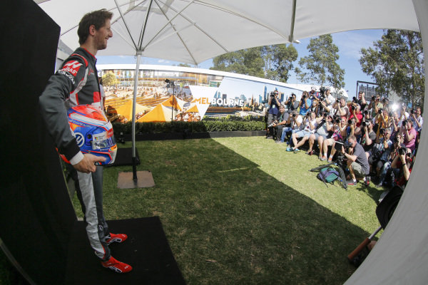 Romain Grosjean (FRA) Haas F1 at Formula One World Championship, Rd1, Australian Grand Prix, Preparations, Albert Park, Melbourne, Australia, Thursday 17 March 2016.