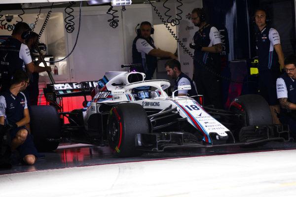Lance Stroll, Williams FW41, in the garage