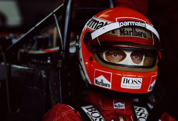 Niki Lauda, McLaren MP4-2 TAG, in cockpit.