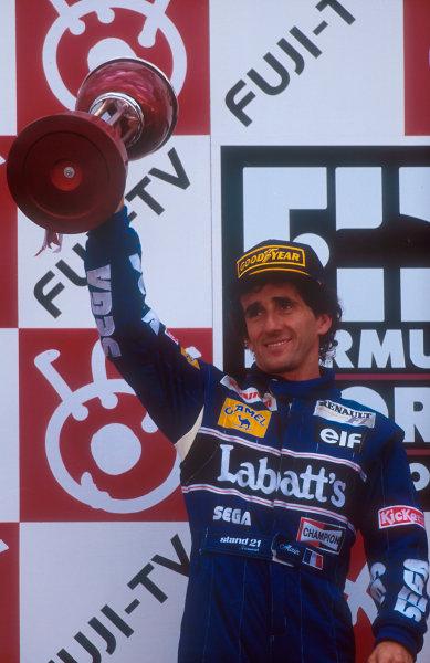 1993 Japanese Grand Prix.Suzuka, Japan.22-24 October 1993.Alain Prost (Williams Renault) 2nd position on the podium.Ref-93 JAP 09.World Copyright - LAT Photographic