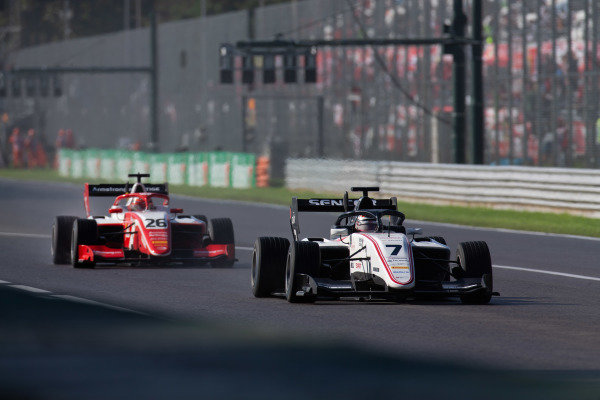 AUTODROMO NAZIONALE MONZA, ITALY - SEPTEMBER 08: Lirim Zendeli (DEU, Sauber Junior Team by Charouz) and Marcus Armstrong (NZL, PREMA Racing) during the Monza at Autodromo Nazionale Monza on September 08, 2019 in Autodromo Nazionale Monza, Italy. (Photo by Joe Portlock / LAT Images / FIA F3 Championship)
