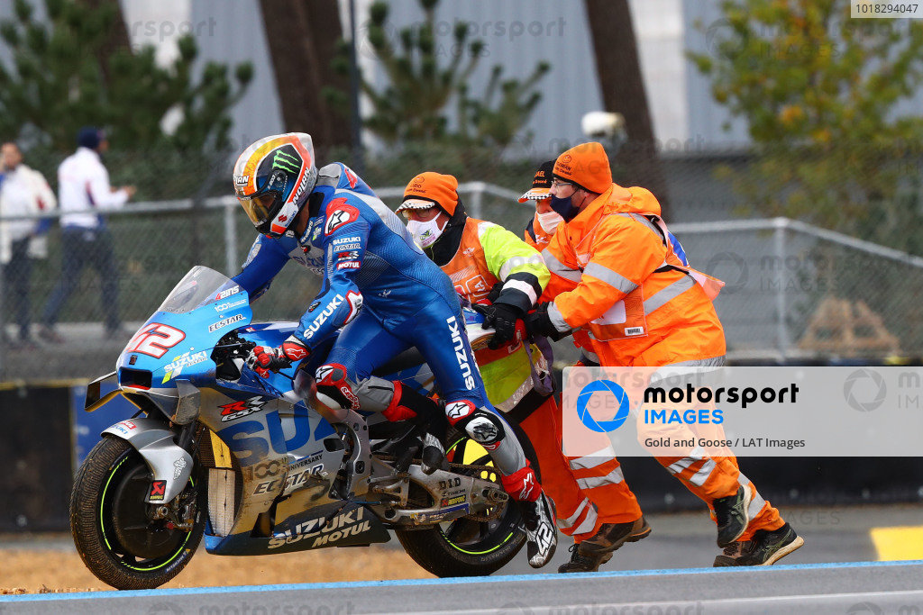 Alex Rins, Team Suzuki MotoGP after crash.