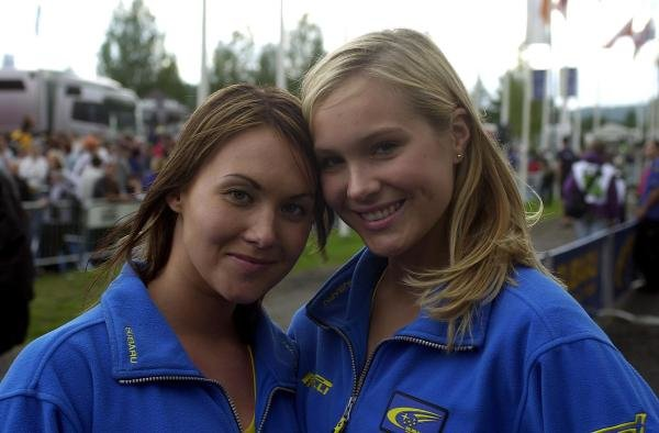 A pair of Finnish beauties.FIA World Rally Championship, Rd9, Neste Rally Finland, Jyvaskyla, Finland. Day 2, 9 August 2003.DIGITAL IMAGE