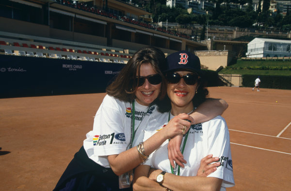 Monte Carlo, Monaco. 20th - 23rd May 1993.Patrizia Spinelli, Benetton PR and Press Officer,and colleague at the annual tennis tournament, portrait.World Copyright - LAT Photographic