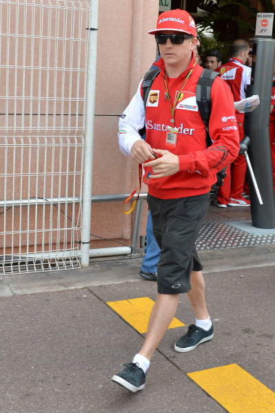 Kimi Raikkonen (FIN) Ferrari.Formula One World Championship, Rd6, Monaco Grand Prix, Preparations, Monte-Carlo, Monaco, Wednesday 21 May 2014.