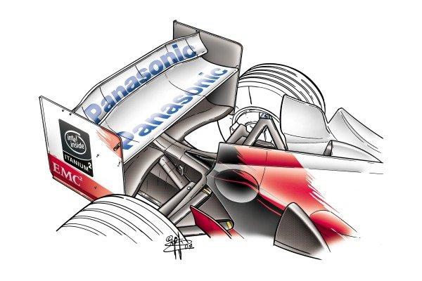 Toyota TF104 2004 rear wing