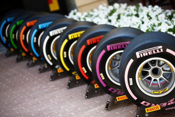 Yas Marina Circuit, Abu Dhabi, United Arab Emirates. Friday 24 November 2017. The new-for-2018 range of Pirelli tyres for F1. World Copyright: Andy Hone/LAT Images  ref: Digital Image _ONZ8155