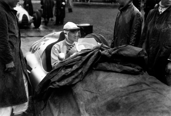 Spa-Francorchamps, Belgium. 26th June 1939.Dick Seaman, Mercedes-Benz W154, retired, on the grid before his fatal accident at La Source, portrait. World Copyright: Robert Fellowes/LAT PhotographicRef: RF39_BEL_96.