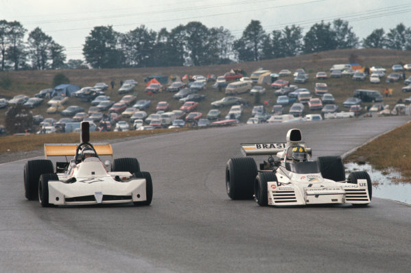 1973 Canadian Grand Prix.  Mosport Park, Ontario, Canada. 21st-23rd September 1973.  Wilson Fittipaldi, Brabham BT42 Ford, and James Hunt, March 731 Ford.  Ref: 73CAN28. World copyright: LAT Photographic