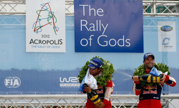 Round 06 - Rally Acropolis Greece. 24-27 May 2012. Sebastien Loeb, Daniel Elena, Citroen WRC, Podium. Worldwide Copyright: McKlein/LAT