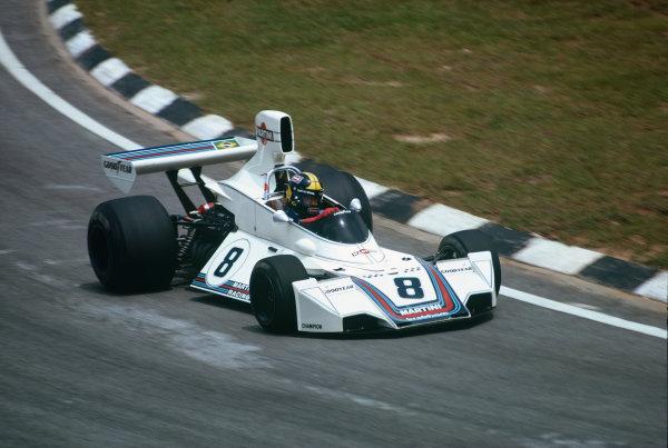 Interlagos, Sao Paulo, Brazil. 24-26 January 1975. Carlos Pace, Brabham BT44B Ford, taking his only Grand Prix win. Ref: 75BRA01. World Copyright - LAT Photographic