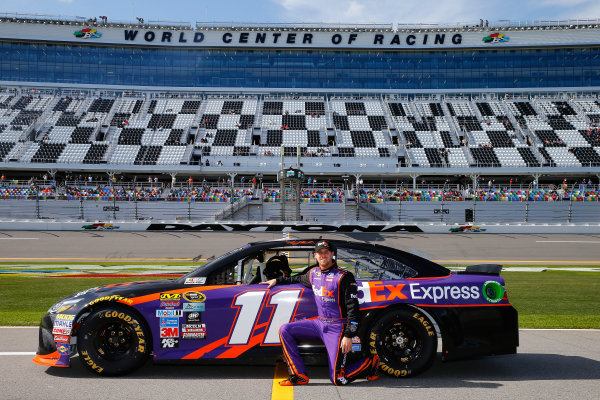 13-21 February, 2016, Daytona Beach, Florida USA   Denny Hamlin, driver of the #11 FedEx Express Toyota, poses with his car after qualifying for the NASCAR Sprint Cup Series Daytona 500 at Daytona International Speedway on February 14, 2016 in Daytona Beach, Florida.   LAT Photo USA via NASCAR via Getty Images