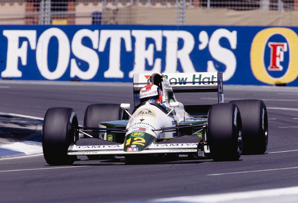 1991 Australian Grand Prix.Adelaide, Australia.1-3 November 1991.Johnny Herbert (Lotus 102B Judd) 11th position.Ref-91 AUS 38.World Copyright - LAT Photographic