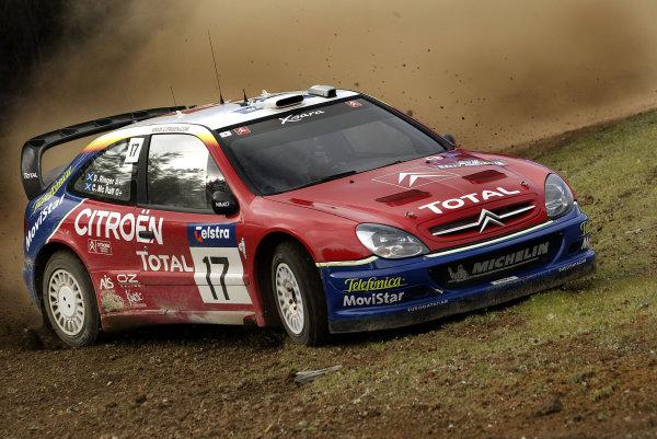 2003 FIA World Rally Champs. Round Ten Telstra Rally Australia 4th-7th September 2003.Colin McRae, Citroen, action. World Copyright: McKlein/LAT