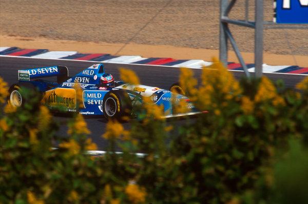 Tanaka International, Aida, Japan.20-22 October 1995.Michael Schumacher (Benetton B195 Renault) 1st position and his second successive drivers world championship.Ref-95 PAC 13.World Copyright - LAT Photographic