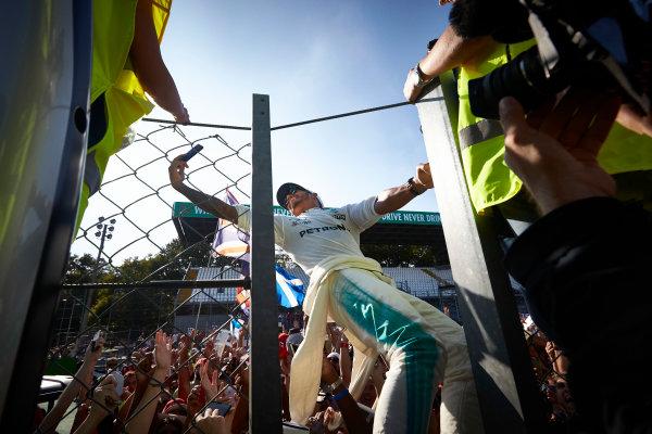 Autodromo Nazionale di Monza, Italy. Sunday 3 September 2017. Lewis Hamilton, Mercedes AMG, takes a photo with fans. World Copyright: Steve Etherington/LAT Images  ref: Digital Image SNE15616