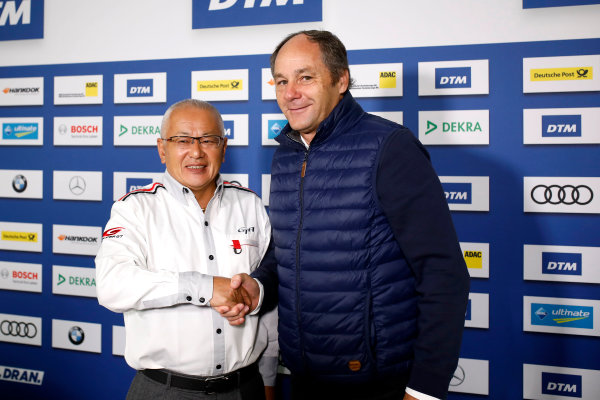 2017 DTM Round 9  Hockenheimring, Germany  Sunday 15 October 2017. Press Conference: Masaki Bando, Chairman GTA and Gerhard Berger, ITR Chairman  World Copyright: Alexander Trienitz/LAT Images ref: Digital Image 2017-DTM-HH2-AT1-0459