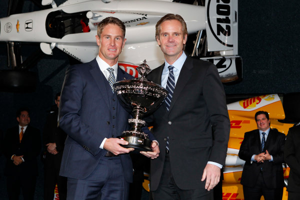 6 December, 2012, Indianapolis, Indiana USA Ryan Hunter-Reay receives the Astor Cup from Starke Taylor of Izod.(c)2012, Russell LaBounty LAT Photo USA .