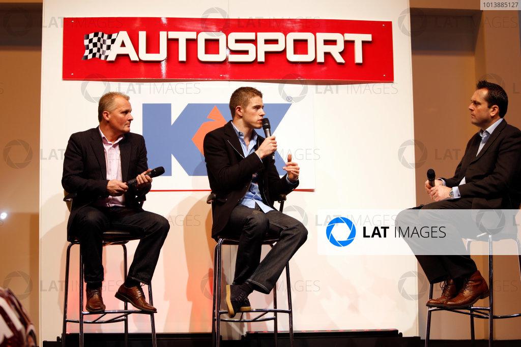 Autosport International Show NEC, Birmingham.  Sunday 13th January 2013. Johnny Herbert and Paul di Resta on stage. World Copyright:Glenn Dunbar/LAT Photographic ref: Digital Image _89P4765
