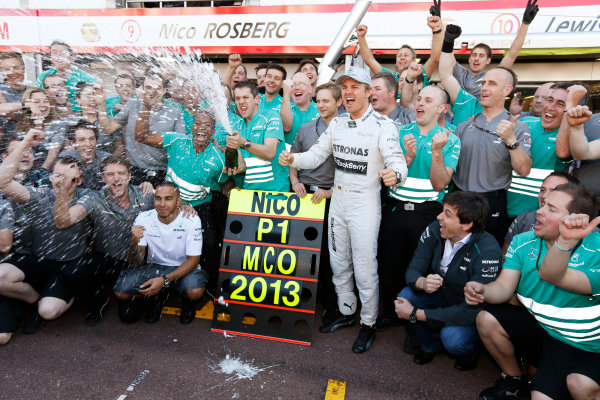 Monte Carlo, Monaco 26th May 2013 Nico Rosberg celebrates his win with the Mercedes team.  World Copyright: Charles Coates/LAT Photographic ref: Digital Image _N7T1297