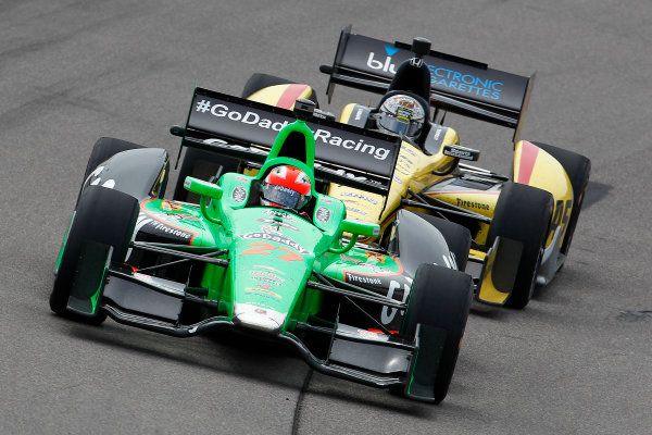 22-23 June, 2013,Newton, Iowa, USA James Hinchcliffe leads Graham Rahal.(c) 2013, Perry Nelson LAT Photo USA