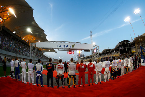 Bahrain International Circuit, Sakhir, Bahrain.  Sunday 16 April 2017. The drivers line up for the national anthem. World Copyright: Steven Tee/LAT Images ref: Digital Image _O3I7503