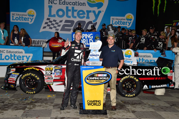 NASCAR Camping World Truck Series North Carolina Education Lottery 200 Charlotte Motor Speedway, Concord, NC USA Friday 19 May 2017 Kyle Busch, Cessna Toyota Tundra celebrates his win in Victory Lane World Copyright: Nigel Kinrade LAT Images ref: Digital Image 17CLT1nk04900