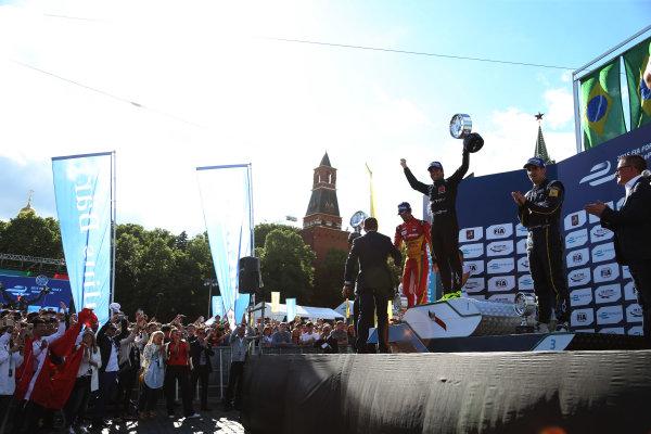 2014/2015 FIA Formula E Championship. Moscow ePrix, Moscow, Russia. Saturday 6 June 2015 Podium. 1st, Nelson Piquet Jr (BRA)/China Racing - Spark-Renault SRT_01E, 2nd, Lucas di Grassi (BRA)/Audi Abt Sport - Spark-Renault SRT_01E and 3rd, Sebastien Buemi (SWI)/E.dams Renault - Spark-Renault SRT_01E. Photo: Jed Leicester/LAT/Formula E ref: Digital Image JL1_9794