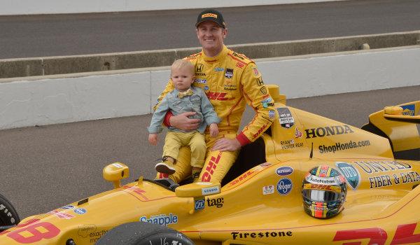17-18 May, 2014, Indianapolis, Indiana, USA #28 Ryan Hunter-Reay, DHL Andretti Autosport and son ©2014 Dan R. Boyd LAT Photo USA