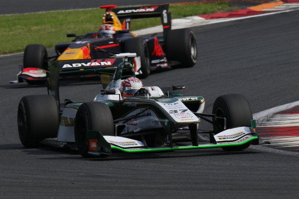 2017 Japanese Super Formula. Fuji, Japan. 8th - 9th July 2017. Rd 3. 3rd position Andre Lotterer ( #36 VANTELIN KOWA TOM?S SF14 ) action World Copyright: Yasushi Ishihara / LAT Images. Ref: 2017SF_Rd3_009