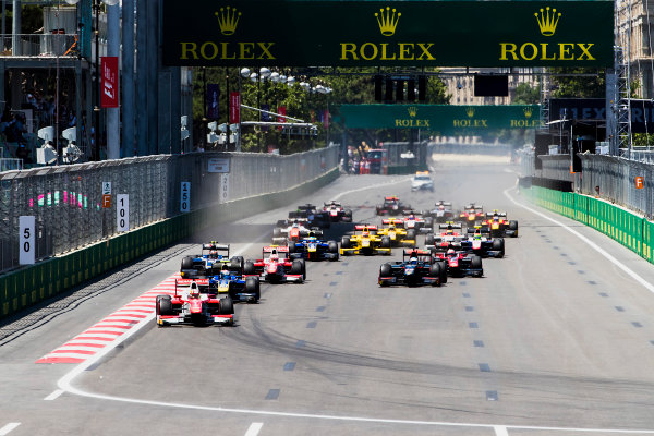 2017 FIA Formula 2 Round 4. Baku City Circuit, Baku, Azerbaijan. Saturday 24 June 2017. Charles Leclerc (MCO, PREMA Racing) leads Nicholas Latifi (CAN, DAMS) and the rest of the field at the start of the race. Photo: Zak Mauger/FIA Formula 2. ref: Digital Image _56I7406