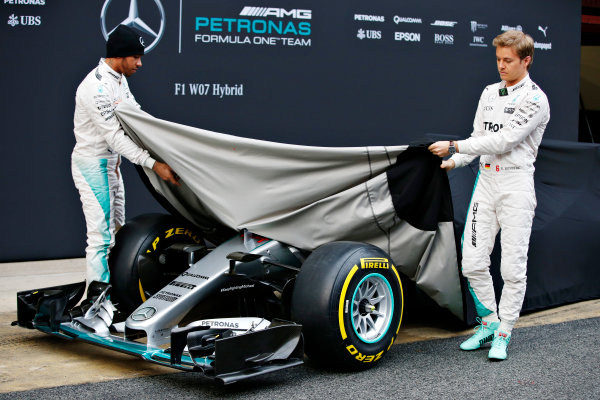 Circuit de Catalunya, Barcelona, Spain Monday 22 February 2016. Lewis Hamilton, Mercedes AMG, and Nico Rosberg, Mercedes AMG, unveil the Mercedes F1 W07 Hybrid. World Copyright: Glenn Dunbar/LAT Photographic ref: Digital Image _W2Q0526